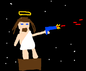jesus shooting a laser in space on a box