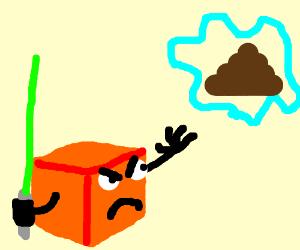 cube man levitates poo