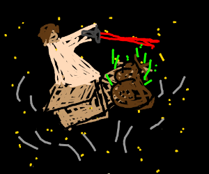 Box Jedi levitating poop