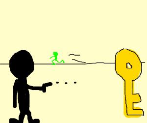 black guy shoots keys and green suit man runs