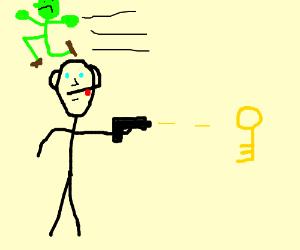Man Shoots Key while Green Man Runs Away