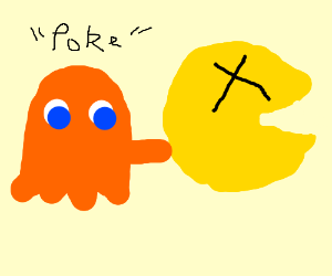 Clyde kills Pac-man by poking him