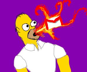 Homer breathing flaming Gmail