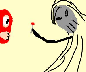 The Grim Reaper giving a luchador a lollipop