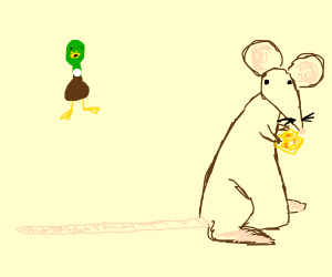 A duck looking at a brown mouse.