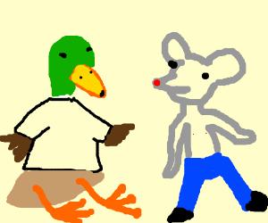 Duck w/shirt, no pants;Mouse w/pants, no shirt