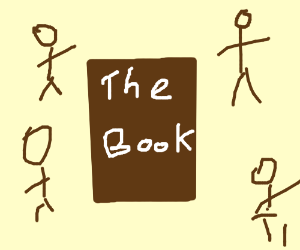 book with people around it