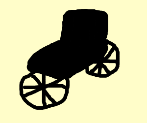 Wheel chair with wheels on the front and back