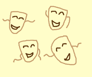 Happy theatre mask, but 4 times