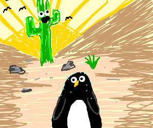 Penguin in the desert