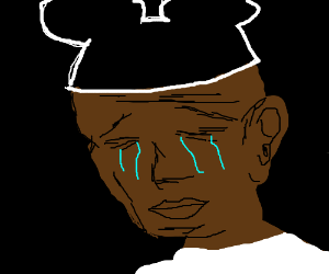 crying black guy with mickeymouse cap drawing by the