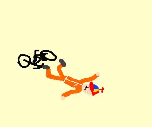 Prison uniform kid fails at riding a bike