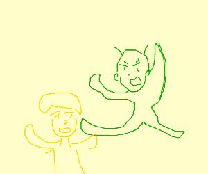 lil green dudes fightin lil yellow dudes