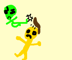 green angry alien kicks yellow mans wig off