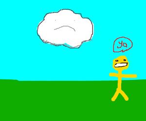 happy yellow man saying hello to sad cloud