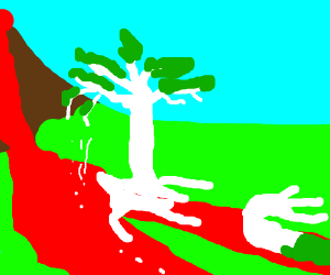 White trees melt in lava