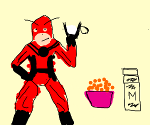 Ant-Man drinks glass of milk near cereal bowl.