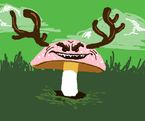 Toadstool with antlers and creepy face.