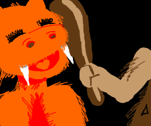 Caveman killed a saber-toothed Muppet!