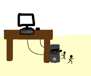 Stick figures escaping from computer