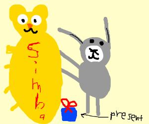 Bugs Bunny as Rafiki presents newborn Simba