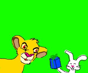 A rabbit gives Simba a present
