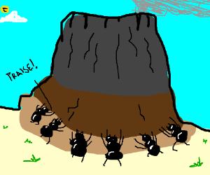 ants worship volcano