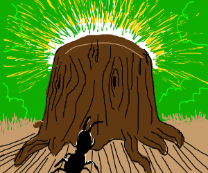 Unworthy Ant Approaches Holy Stump