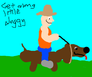 small bald man rides a sausage dog