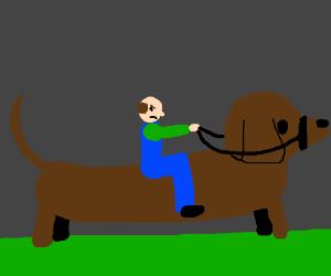 Grumpy farmer riding giant dachshund