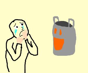 happy grey bag makes man cry