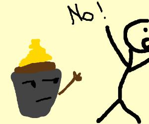 Annoyed cupcake extends arm toward fleeing boy