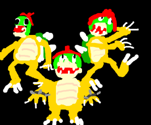Three bowsers stacked on top of each other