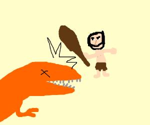 caveman hits orange dinosaur with club