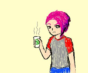Woman Drinks From 1 Dad Mug Drawception