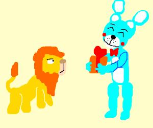 Bunny gives Simba a gift