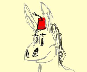 Donkey wearing a fez