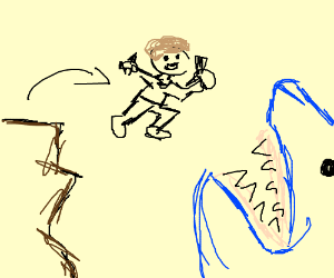 Jumping off cliff into shark's mouth - Drawception