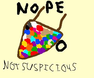 Totally not suspicious wheelbarrow of candy