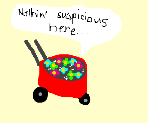 wheelbarrow full of flowers is NOT SUSPICIOUS.