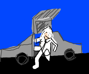 Doc. Brown emerging from the DeLorean