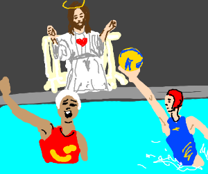 Jesus watches swimmers playing with ball