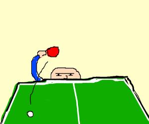 Playing ping pong ominouniously