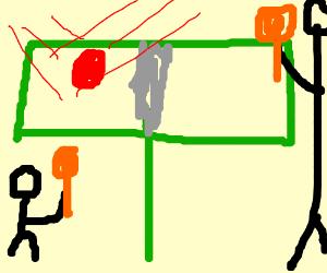 midget plays ping-pong