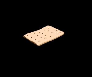 A frostingless poptart surrounded by black