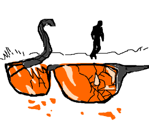 Orange broken sunglasses