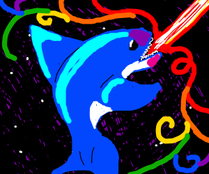 Laser shark, IN SPACE! with rainbows