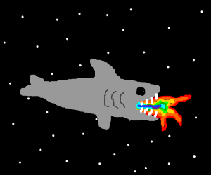 Shark in space shoots rainbow flames 4rm mouth