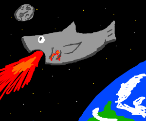 Fire-breathing shark in outer space!