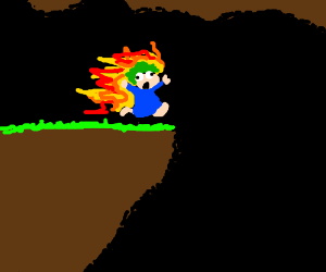 Fire lemming leaps to its death
